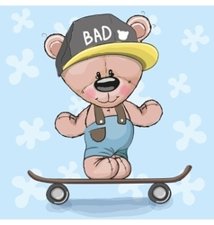 Bear with skateboard vector