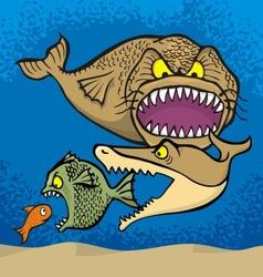 big fish eats small vector image vector image