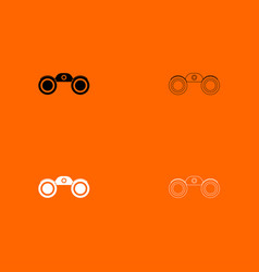 binoculars black and white set icon vector image vector image