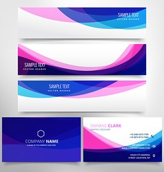 business card and header banner set vector image