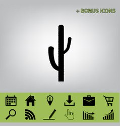 Cactus simple sign black icon at gray vector