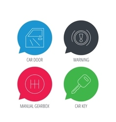 Car key warning and manual gearbox icons vector image vector image