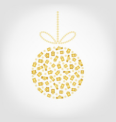 christmas tree ball from golden gift box and vector image vector image