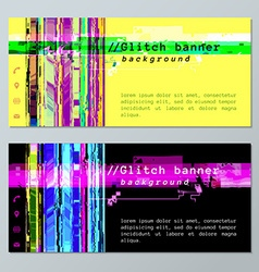 Colored glitch design background banner icons vector
