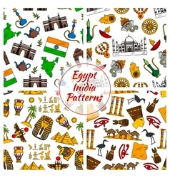 Egypt and india culture patterns vector