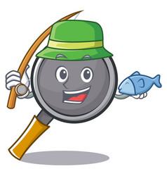 Fishing frying pan cartoon character vector