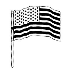 Flag united states of america in pole several vector