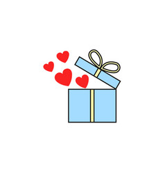 Gift box with hearts flat icon love present vector