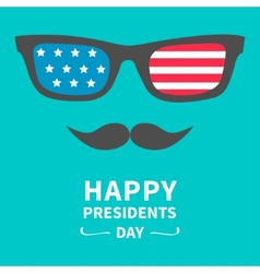 Glasses and mustaches Presidents Day background vector image vector image