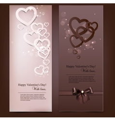 Greeting cards with hand made paper hearts and vector image