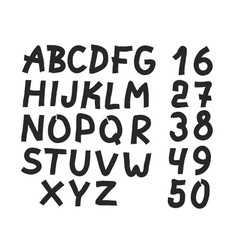 hand drawn letters and numbers font vector image