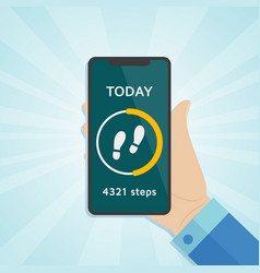 hand holding smartphone with run tracker running vector image
