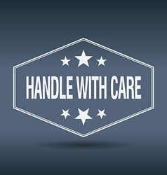 Handle with care hexagonal white vintage retro vector