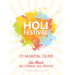 Holi spring festival of colors invitation vector