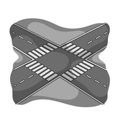 Intersection single icon in monochrome style vector