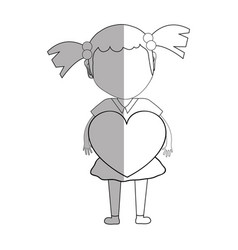 Line pretty girl with heart in the hand and dress vector
