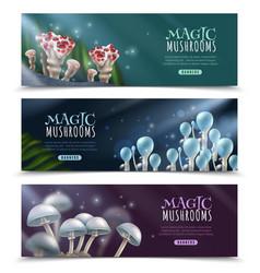 Magic mushrooms horizontal banners set vector