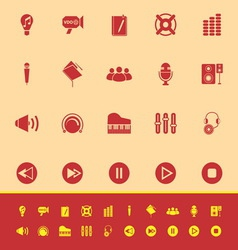 Music color icons on yellow background vector image