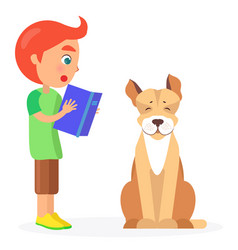 Red-haired boy reads book to jack russell terrier vector