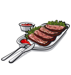 roastbeef with sauce vector image vector image