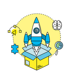 Rocket in the box with creatives icons vector