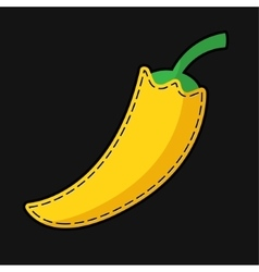 Seam yellow paprika with shadow vector