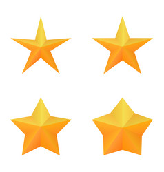 Set of four golden five point stars vector