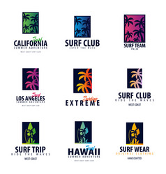 Set of surfing logo and emblems for surf club or vector