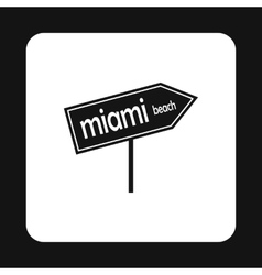 Sign miami beach icon simple style vector