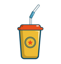 Soft drink in a yellow paper cup icon vector