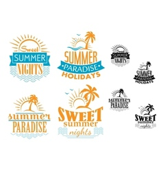 Summer travel and vacation badges vector image vector image