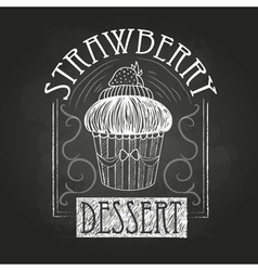 Sweet cake decorative sketch chalk drawing vector