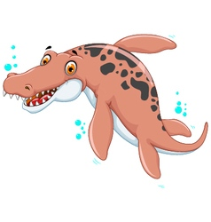 Swimming dinosaur cartoon for you design vector image