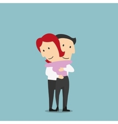 Woman and man hugging with happy smiles vector