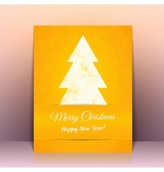 Yellow greeting card background with cristmas tree vector