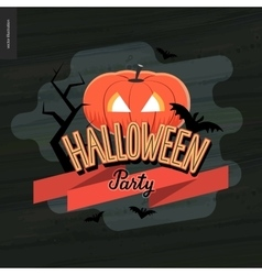 Halloween party lettering and a jack-o-lantern vector