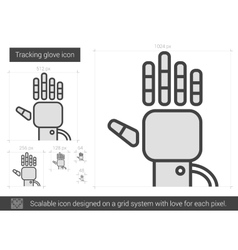 Tracking glove line icon vector