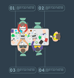 Top view teamwork of business people in office vector