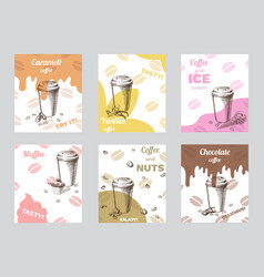 Vintage coffee brochures vector