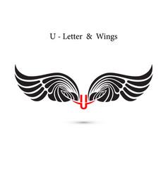 U-letter sign and angel wingsmonogram wing logo vector