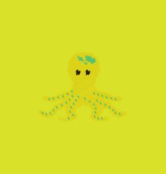Octopus cartoon in hatching style vector