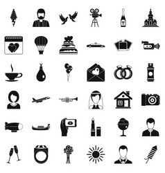 great wedding icons set simple style vector image