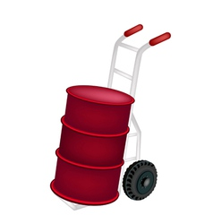 A hand truck loading an oil drum vector