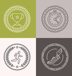 Linear runnig badges vector