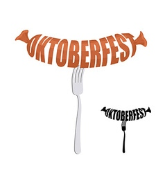 Oktoberfest text in form of sausages on a fork vector