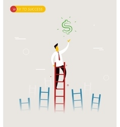 Businessman climbs the stairs to get a dollar vector
