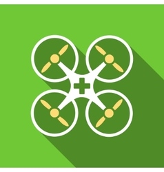 Medical drone flat long shadow square icon vector