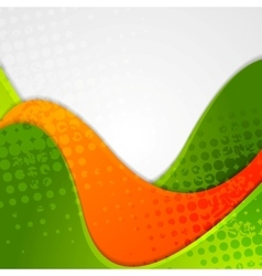 Abstract grunge green orange wavy background vector image