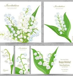 Invitation cards with lovely lilies of the valley vector