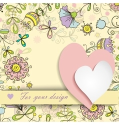 two hearts on a background of floral patterns vector image